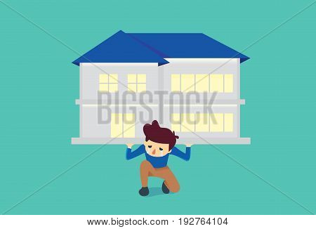 Man kneeling on the floor because he have burden about house too heavy to carry alone. Illustration about debt.