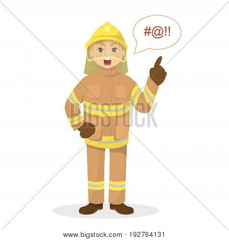 Isolated angry fireman on white background with swear words.