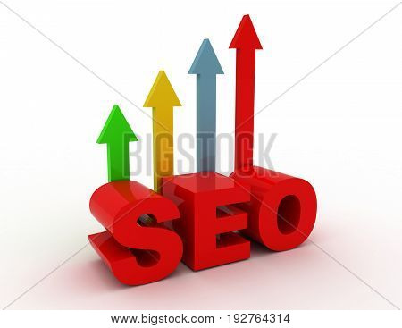 Seo - Search Engine Optimization With Arrows . 3D Rendered Illustration