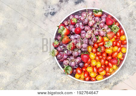 Tray Of Fresh And Sweet Organic Grapes, Strawberries, Cherry Tomatoes