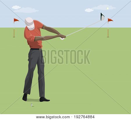 Golf player with club on the grass. Blue sky. Active sport. African american player.