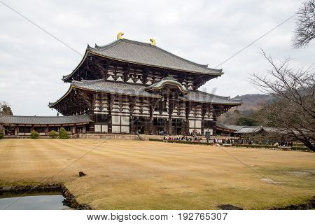 Nara, Japan - December 28, 2014: Exterior view of Todai-Ji temple