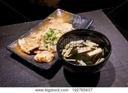 Japanese food enoki mushroom Miso soup in restaurant