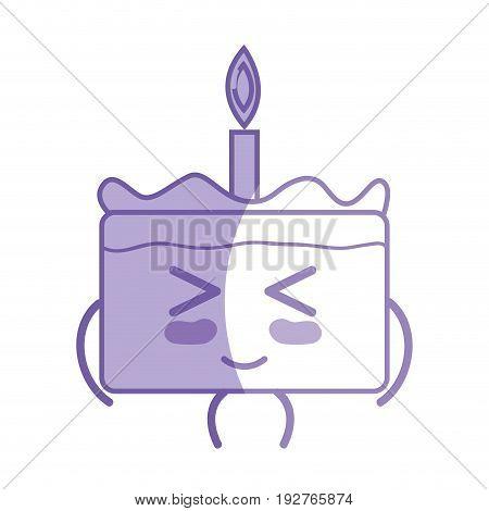 silhouette kawaii cute funny cake dessert vector illustration