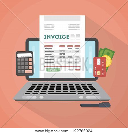 Invoice concept illustration. Invoice documents with calculator, money and cards and laptop.