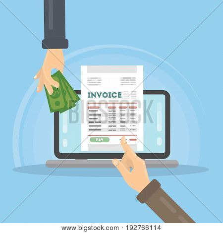 Invoice concept illustration. Laptop with hands, documents and money.