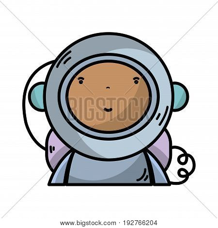 nice astronaut with equipment to kawaii avatar vector illustration