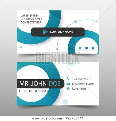 Blue circle corporate business card name card template horizontal simple clean layout design template Business banner template for website