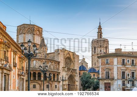 Virgen square with cathedral in Valencia Spain