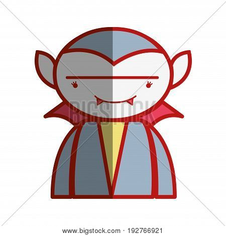 man vampiere with fangs and cape vector illustration