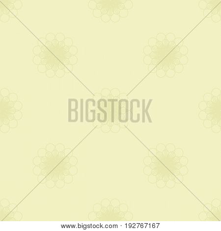 Pale yellow flowers seamless pattern. Repeating floral background. Vector