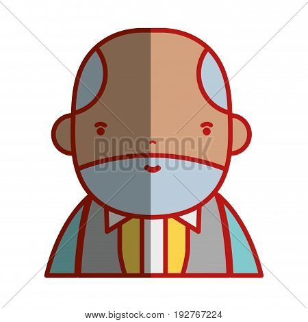 nice businessman with elegant clothes and kawaii avatar vector illustration