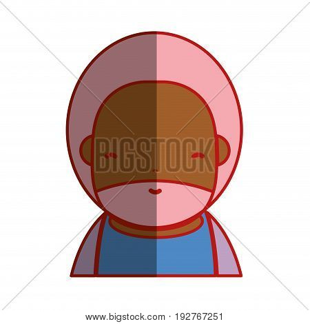 cute man with beard and hairstyle to avatar kawaii vector illustration