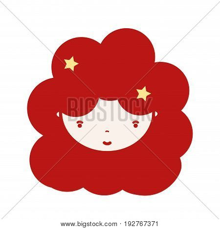 beauty girl face with hairstyle to kawaii avatar vector illustration