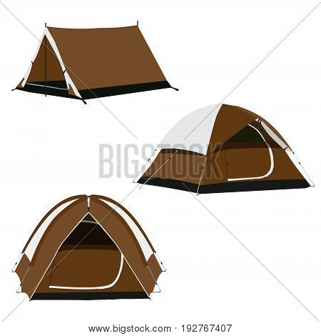 Vector icon set of three brown camping tents vector illustration. Camping equipment gear