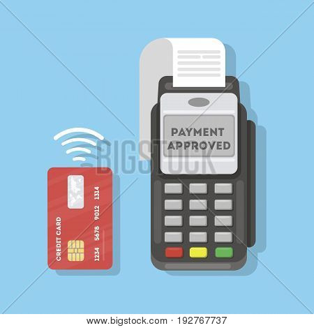 Payment with credit card through the terminal. Payment approved.