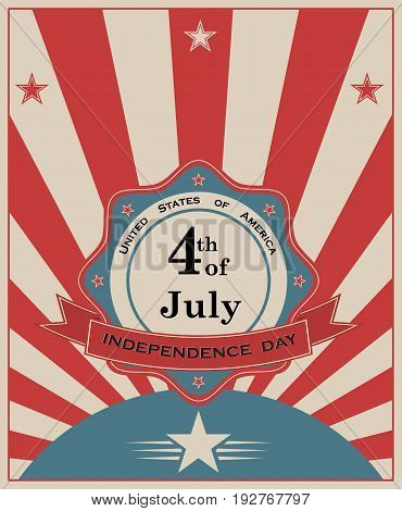 America's Independence Day holiday poster. Stylized flag of the USA. Vector illustration