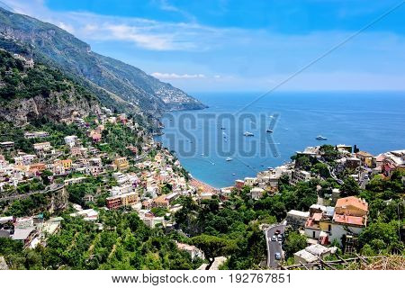 Scenic view of Positano and the Amalfi Coast in Italy