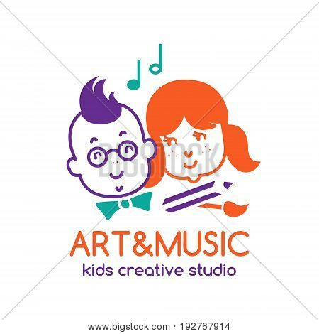 Art and music children studio logo design with boy and girl. EPS 10 vector template. Isolated on white.