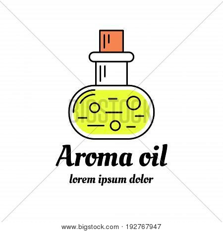 Bottle of aromatic oil icon. Aromatherapy and spa logo design. Line art illustration. EPS 10 vector. Isolated on white.