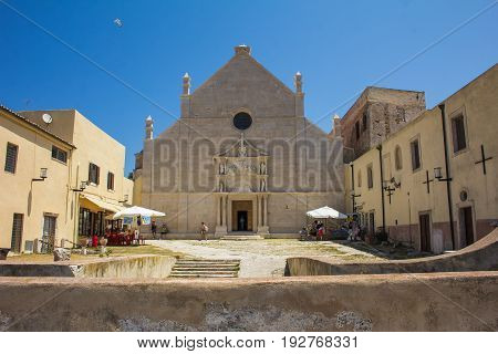 ISOLE TREMITI, ITALY - JUNE 25, 2017: The sanctuary of Santa Maria a Mare in the San Nicola island