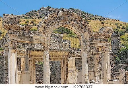 Adrian's Temple (Ephesus Turkey): art stylization of a picture