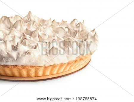 Tasty lemon meringue pie on white background, closeup