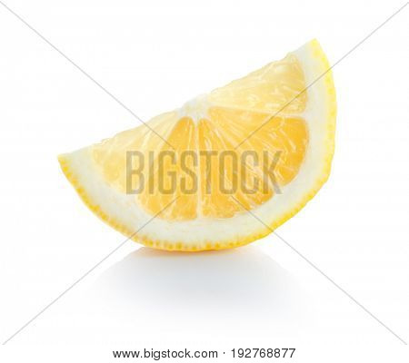 Fresh lemon slice on white background
