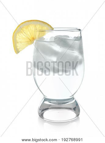 Glass of cold lemon water with ice on white background