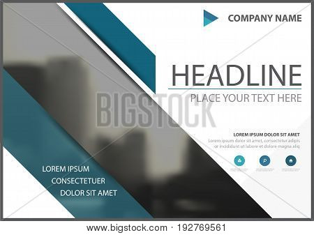 Blue triangle business brochure flyer cover vector design Leaflet advertising abstract background Modern poster magazine layout template Horizontal annual report for presentation.