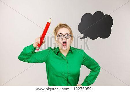 Angry Teacher Woman Holding Big Pencil