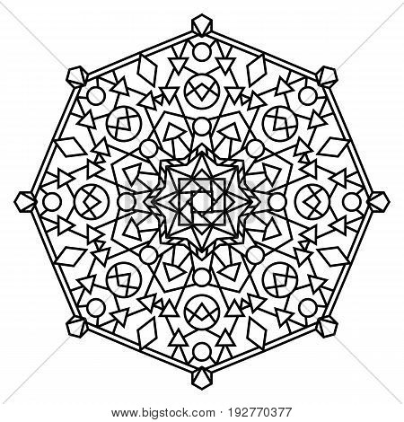 Intricate geometric mandala isolated on white background. Geometric design element. Can be used as coloring page template. Symmetrical vector illustration