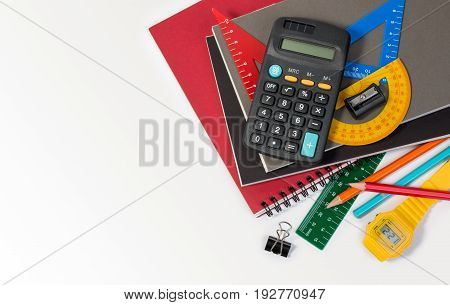 School Supplies Used In Math Class, Geometry Or Science. Mathematics Geometry Tool For Student In Ma