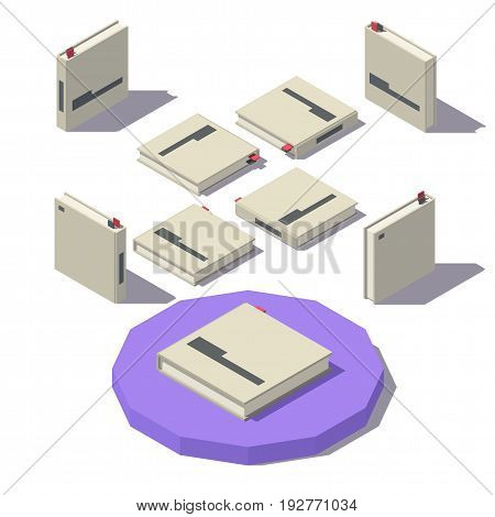 Isometric square book from different angles isolated on white background. Vector low poly illustration.