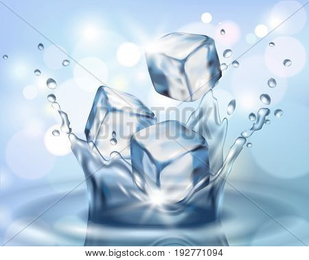 Realistic 3D Ice Cube Falling In Water Splash. Cold Water Droplet Blue Color Reflection Background V