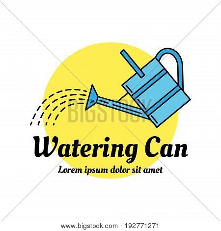 Watering can colorful icon. Line art design concept. Can be used as a garden shop or horticultural market logo. EPS 10 vector illustration isolated on white.