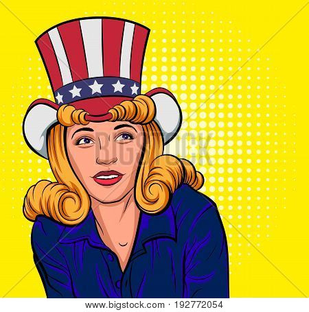 Beautiful young woman in hat of Uncle Sam. Pop art vector cartoon illustration