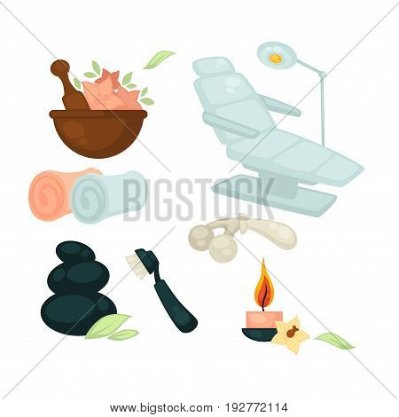 Beauty salon colorful equipment collection isolated on white vector poster in flat design. Close up special seat with moving back, brown bowl with ingredients, rolled towels, burning candle, etc.