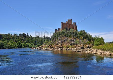 Medieval Castle Of Almourol In Ribatejo, Portugal