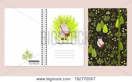 Cover set for notebooks or scrapbooks with doodle forest and cute monster. Design that make you happy and inspired. Vector illustration.