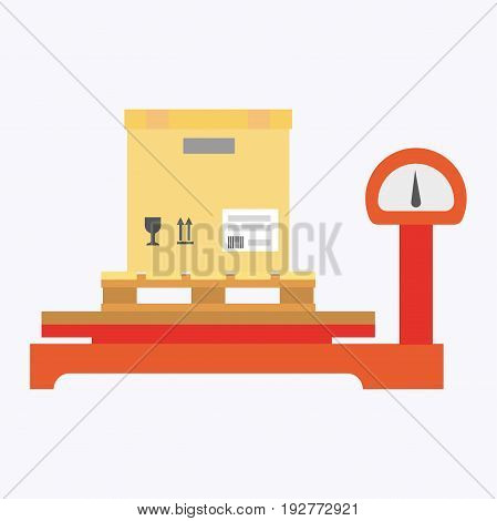 Special weights for heavy packages with big indicator and beige cardboard box placed above, with fragile and top of product notifications isolated cartoon vector illustration on white background.