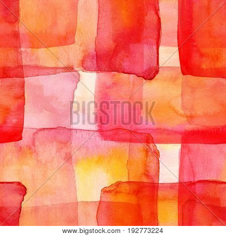 A seamless watercolor background pattern with intersecting pink, red, and yellow squares, an abstract texture
