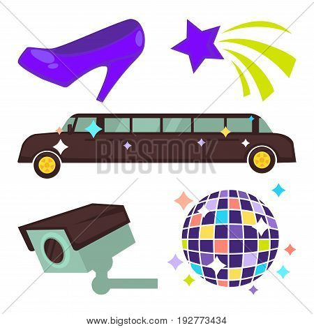 Purple retro stiletto shoe, shooting star, long luxury limousine, shiny disco ball composed of small mirror squares and videcam sticked to wall isolated vector illustrations on white background.
