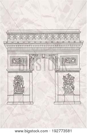Hand drawn arc de tiumph in Paris