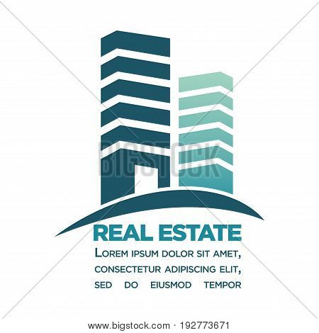 Real estate purchase in city center minimalistic commercial poster with schematic skyscrapers composed from separate blocks and text underneath isolated flat vector illustration on white background.
