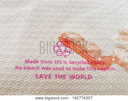 recycle tissue paper with strawberry jam stain