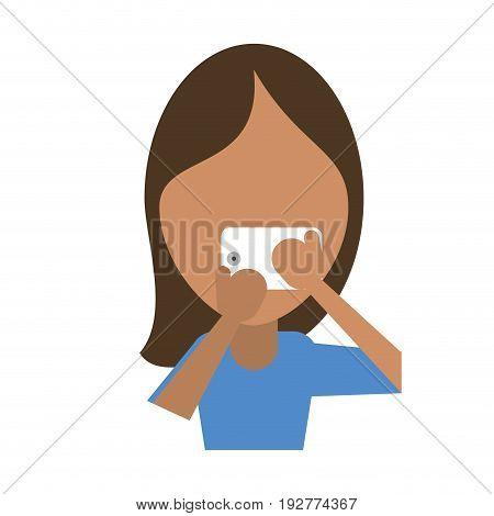 faceless woman using smartphone icon image vector illustration design