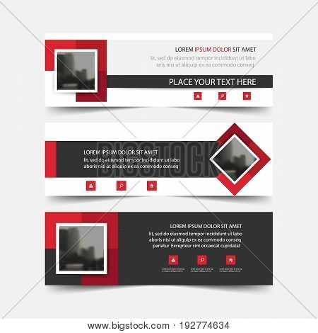 Red square abstract triangle corporate business banner template horizontal advertising business banner layout template flat design set clean abstract cover header background for website design