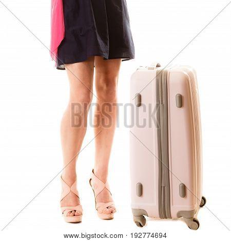 Travel vacation concept. Young summer fashion woman in voyage girl with suitcase luggage bag isolated
