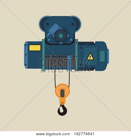 Electric hoist for loading or unloading. Technical hoist with hook.